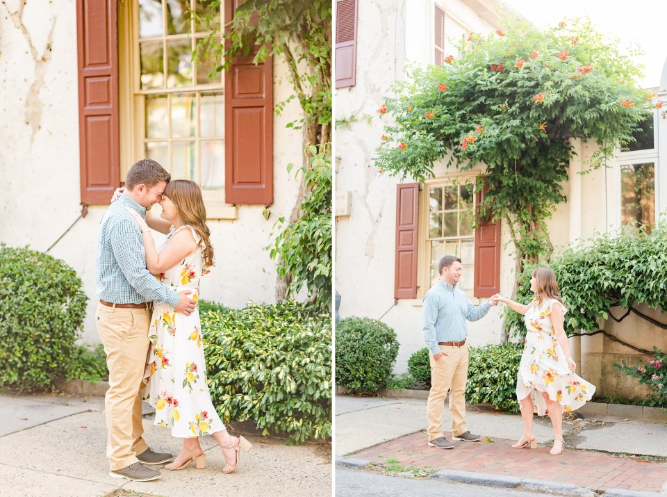 bride and groom to be walk in Chestnut Hill with Renee Nicolo Photography