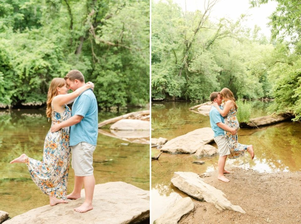 bride and groom pose along river in Chestnut Hill photographed by Renee Nicolo Photography