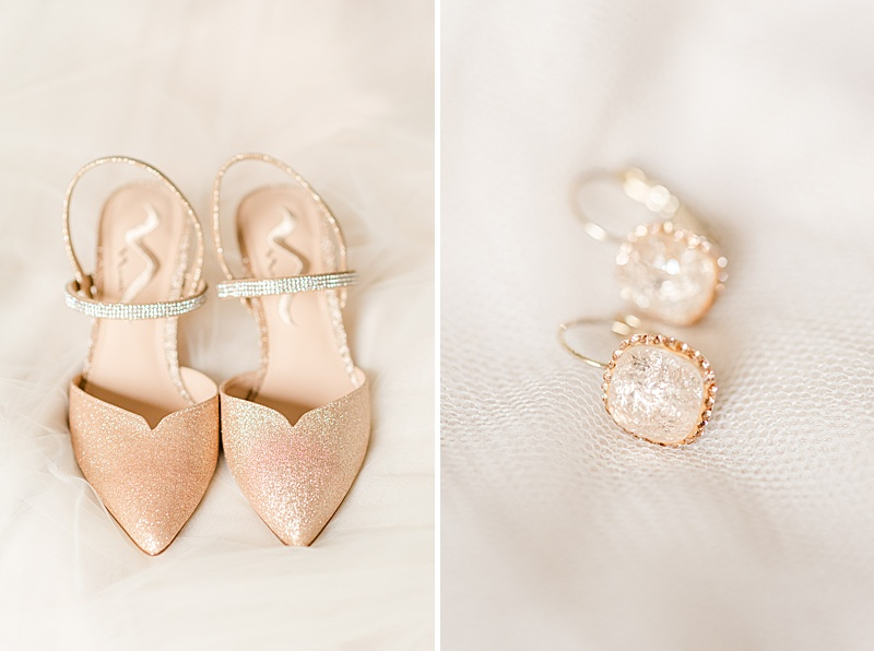 peach shoes and earrings for the bride