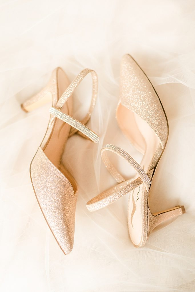 pastel peach shoes for New Jersey bride