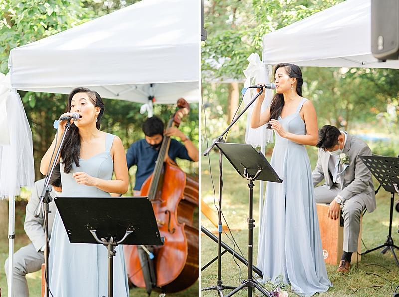 bridesmaid reads during NJ backyard wedding ceremony
