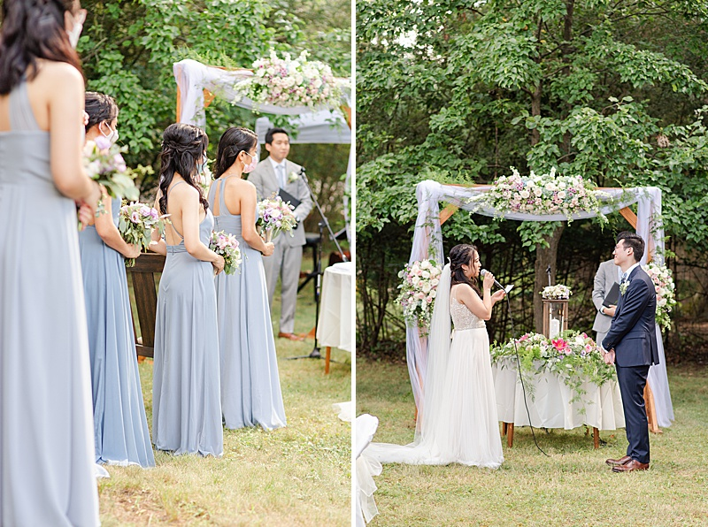 bride and groom read personalized vows during NJ backyard wedding ceremony