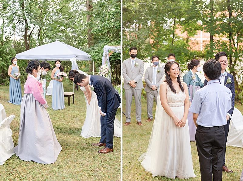 family hugs and bows during NJ backyard wedding ceremony