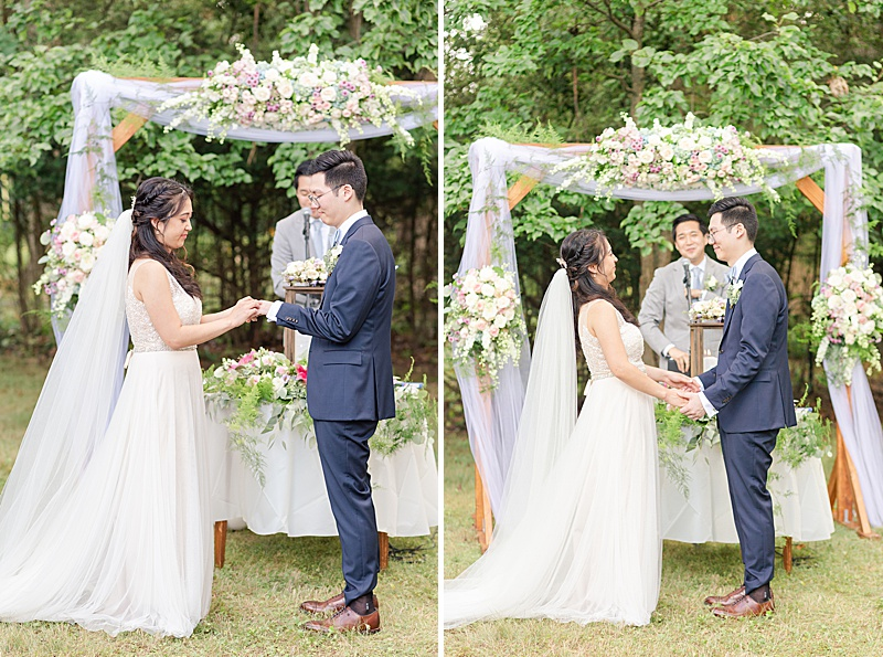 bride and groom exchange vows in New Jersey