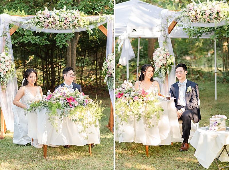 bride and groom listen to toasts during NJ backyard wedding reception