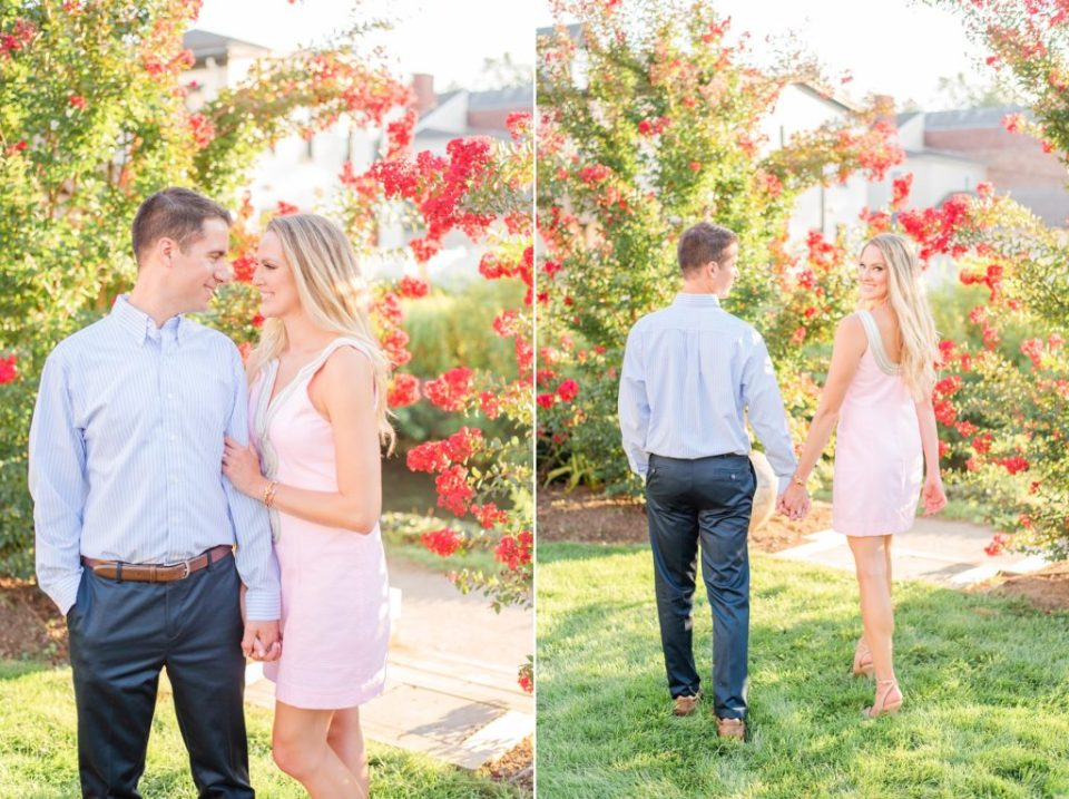 bride walks in pale pink gown with groom in pastel blue shirt
