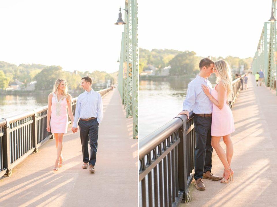 PA engagement portraits on New Hope bridge