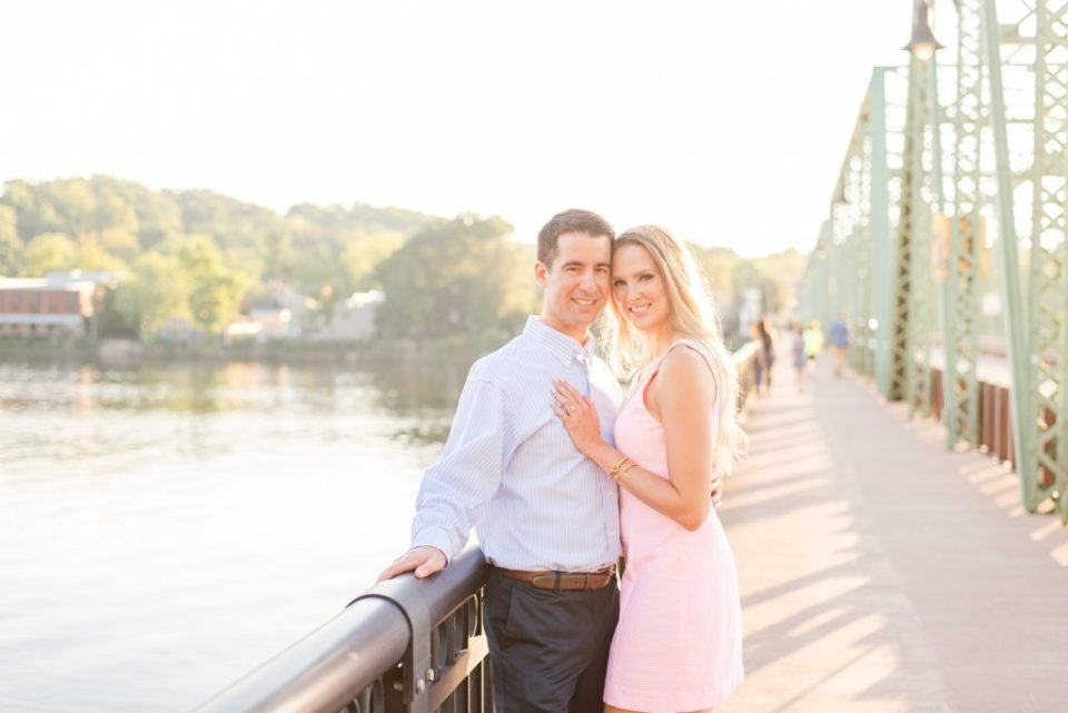 couple cuddles during summer New Hope Engagement Session