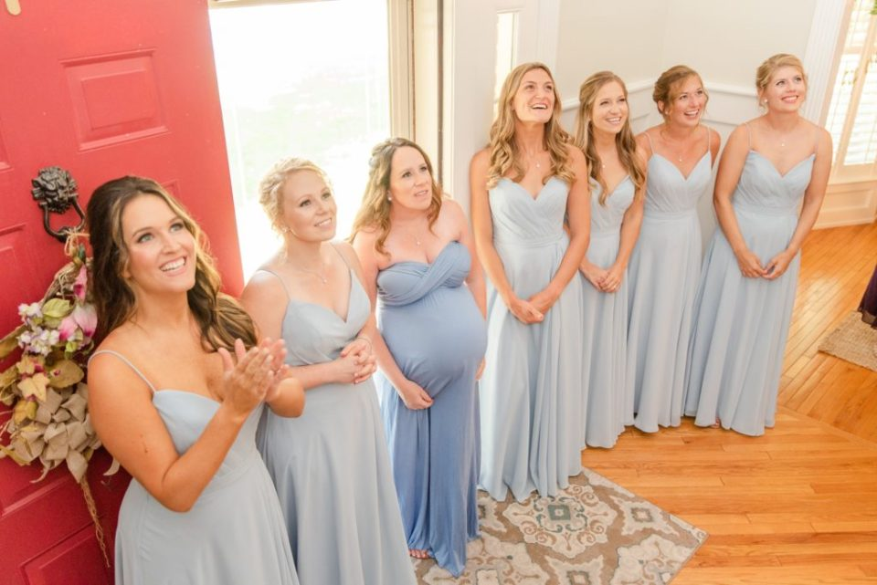 bridesmaids see bride for the first time during first look