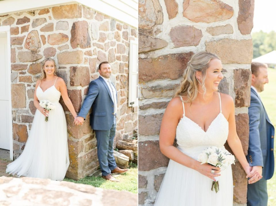 bride and groom have first touch before Graeme Park Wedding
