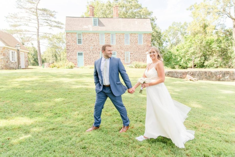 newlyweds walk through historic site in Philly PA