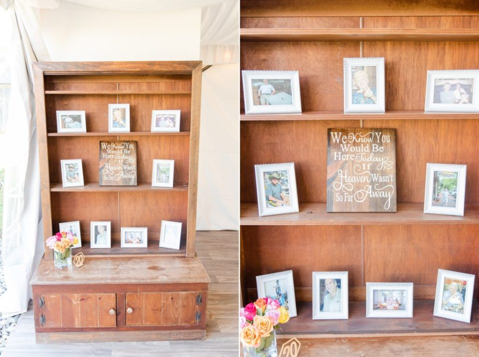 memory display for lost family members at wedding reception