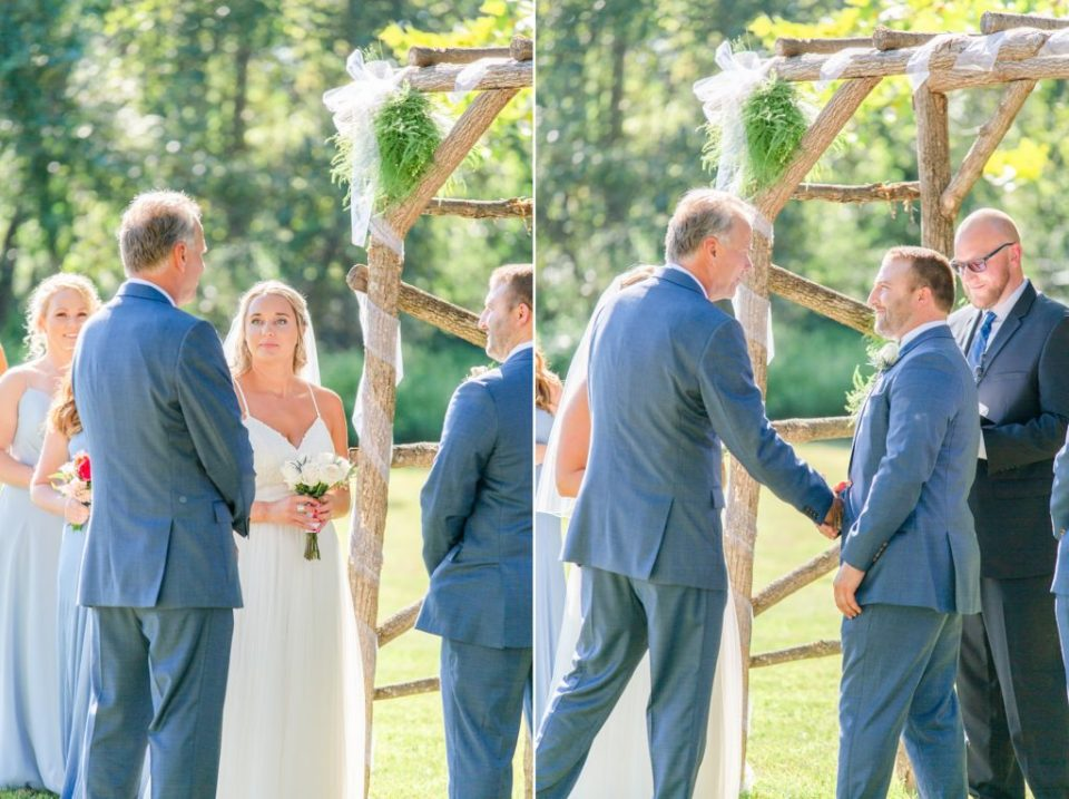 father gives bride away and shakes groom's hand