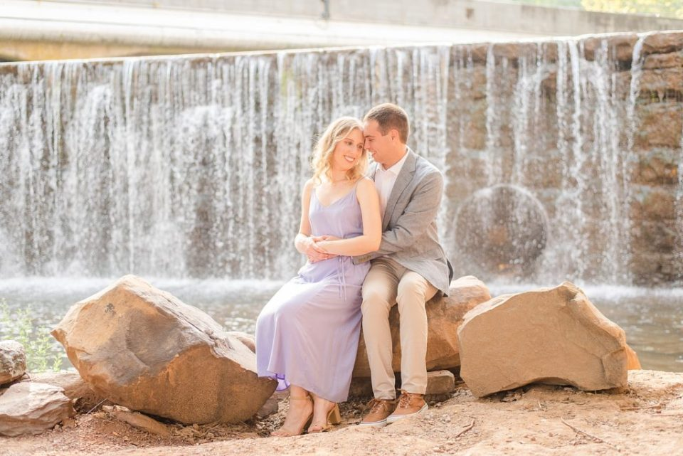 engagement photos in front of waterfall