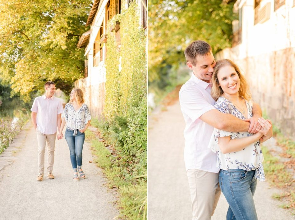 sunset engagement session with couple in New Hope