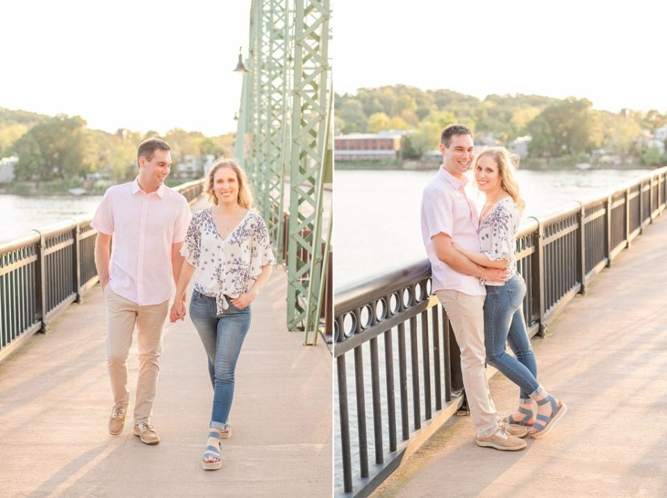New Hope PA bridge engagement photos
