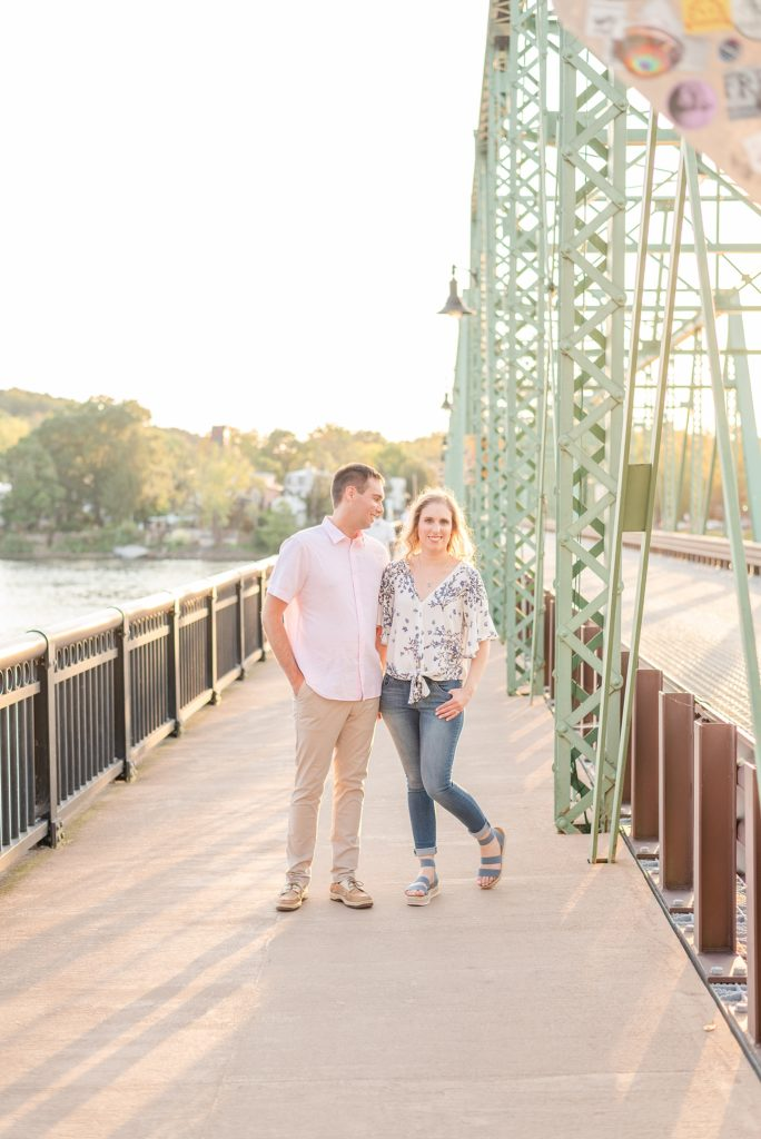 engagement session in the summer with bridge