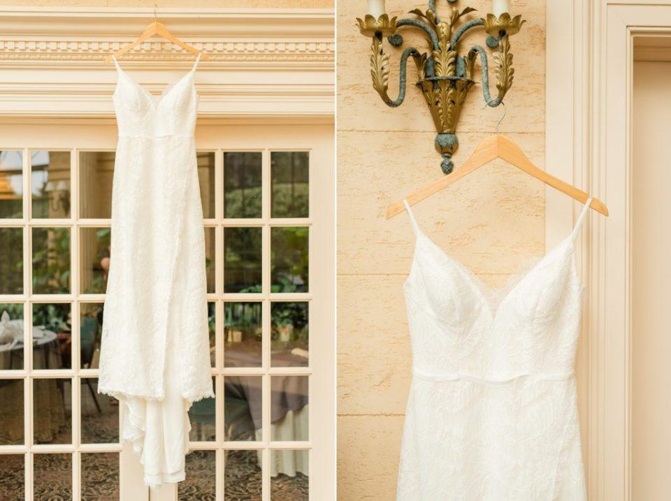 bride's dress hangs at The Desmond Hotel