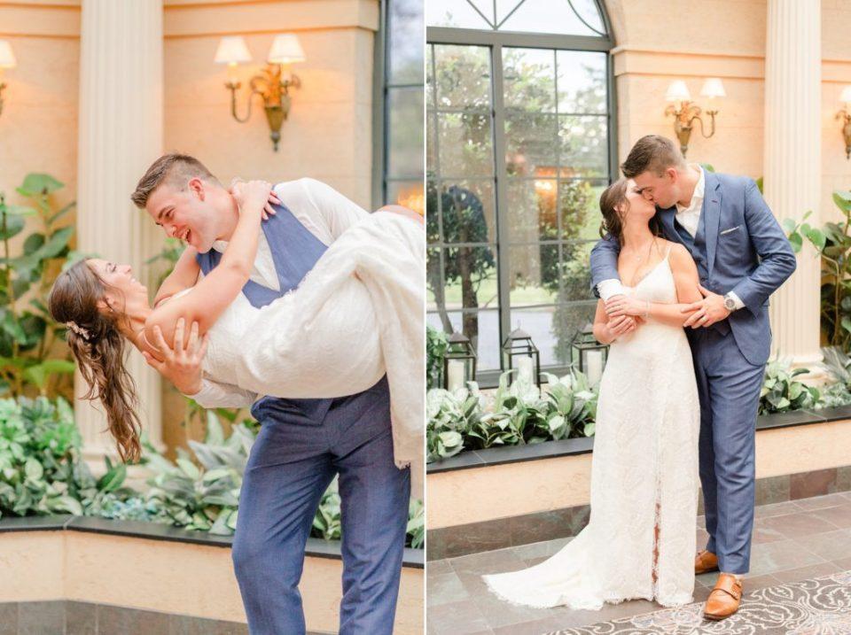 groom lifts bride during wedding portraits