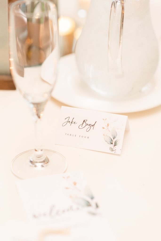 seating card for wedding reception
