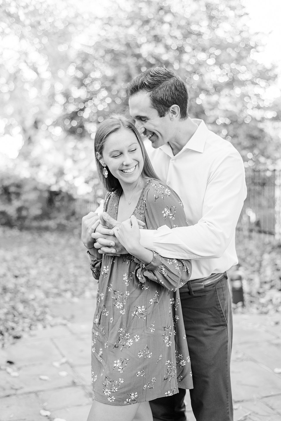 engagement portraits in gardens of New Hope PA