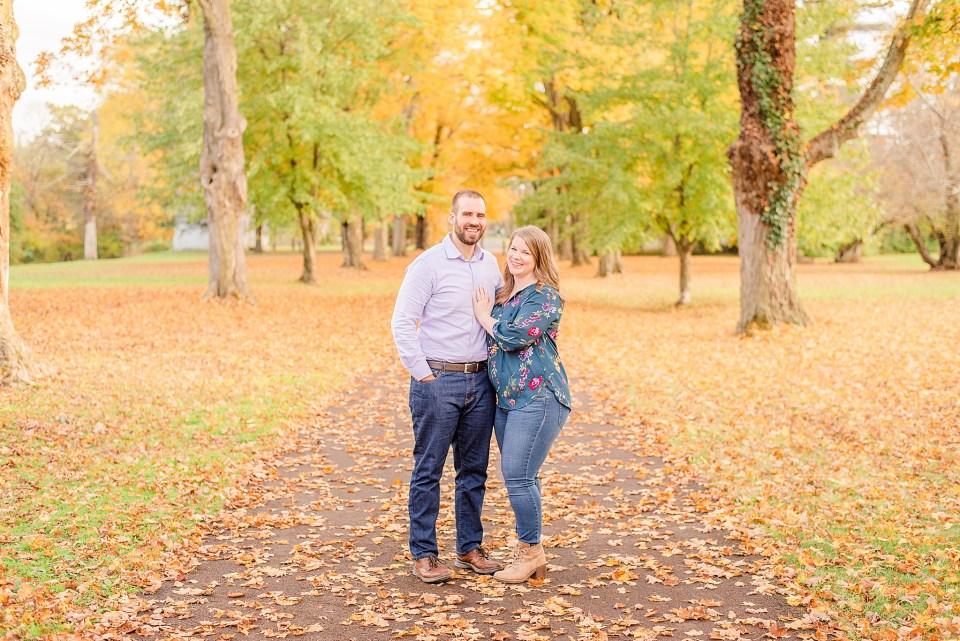 casual fall engagement session at Washington Crossing Historic Park