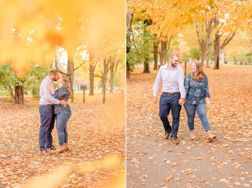 Renee Nicolo Photography captures bride and groom with leaves in foreground
