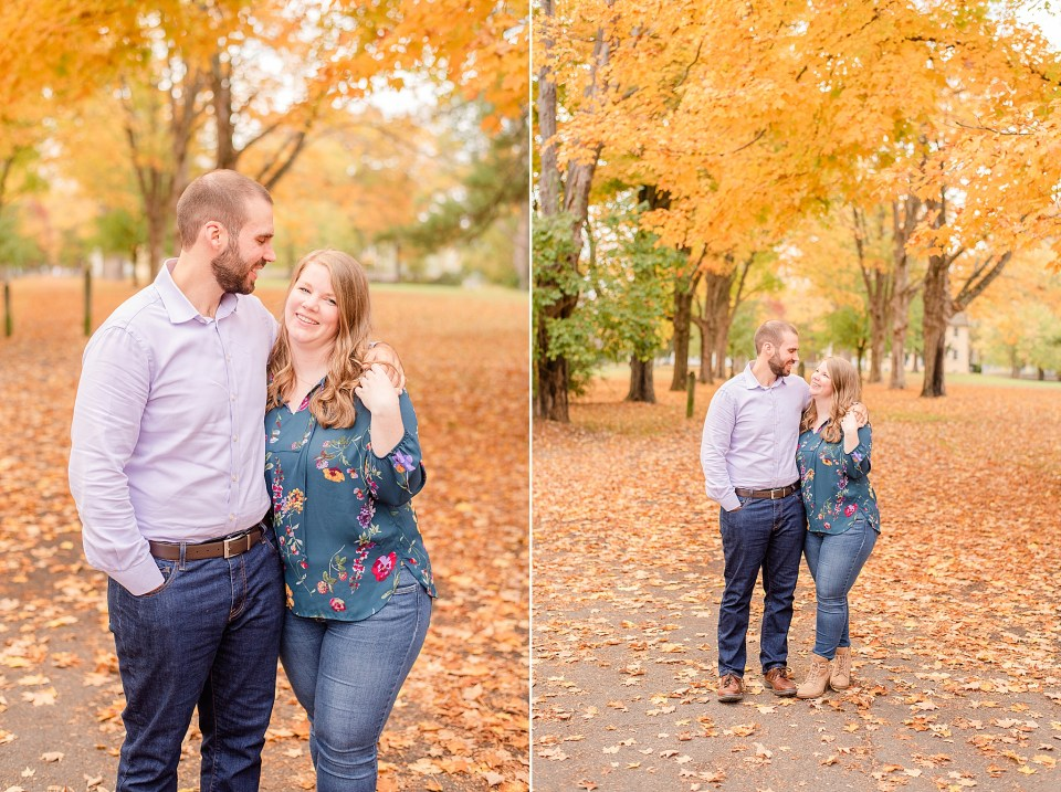 groom smiles at bride to be during PA engagement session