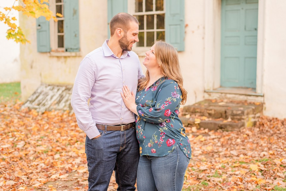 bride and groom look at each other during PA engagement photos