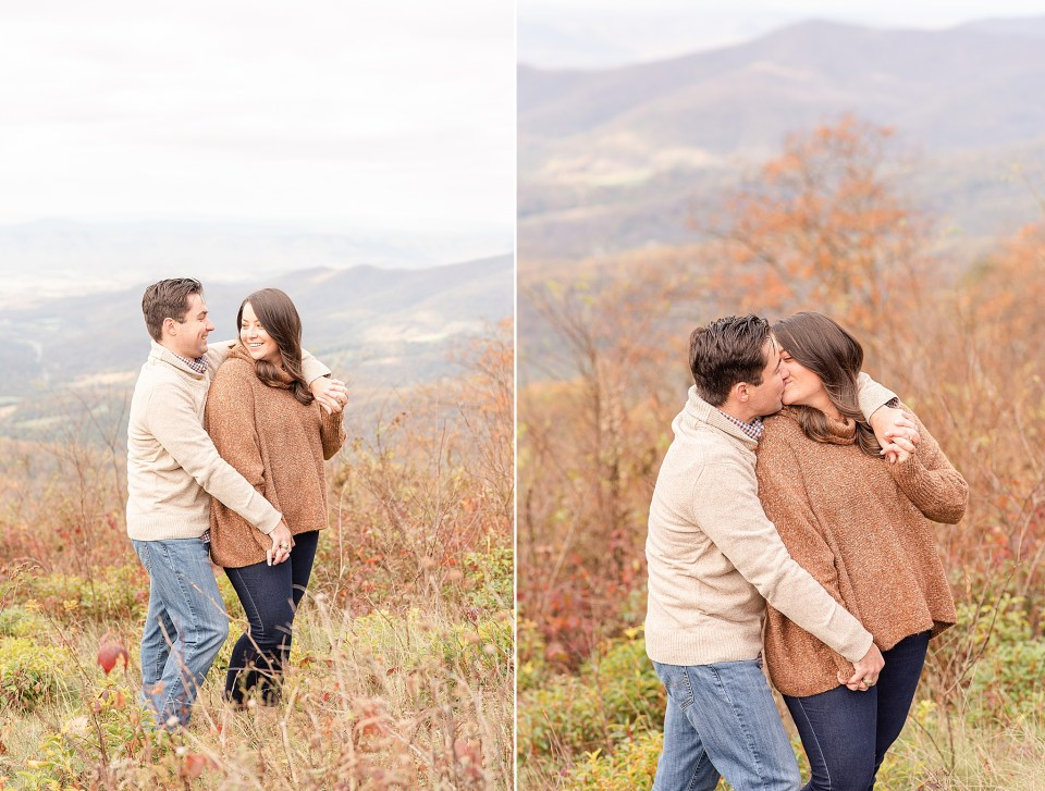 fall engagement portraits on mountaintop in VA