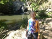 Me at a waterfall in my new paddler - platypus shirt.