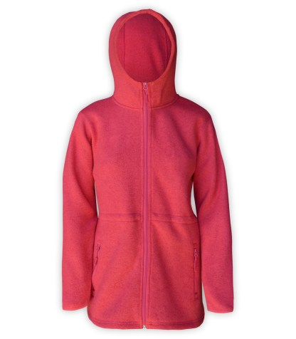 renegade club, womens fleece hot pink long jacket, hooded, zipper, bungee cords, red soft