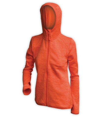 orange womens sports hooded zip jacket for embroidery