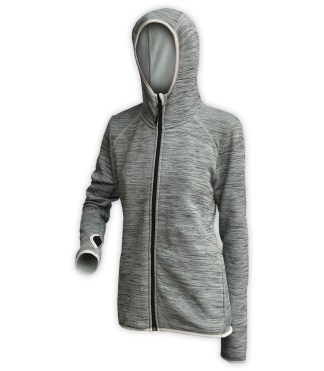 gray zipper hood jacket women, for embroidery, wholesale thumbhole