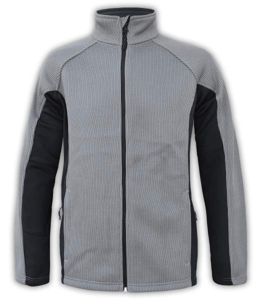 Renegade-club-mens-full-zip-fleece-coarse-weave-gray-black-ski-jacket