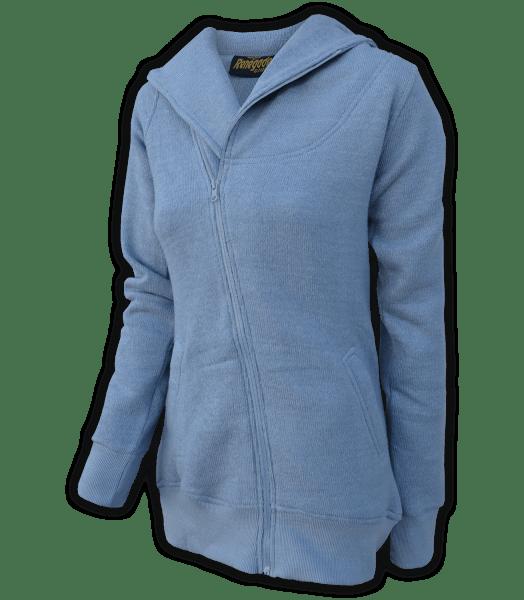 renegade club womens fleece jacket, diagonal full zipper, nantucket fleece, oversized hood, indigo, blue
