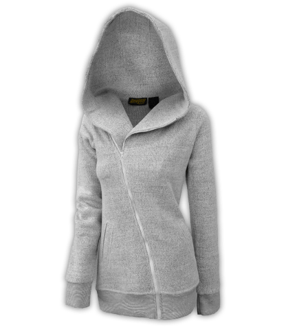 renegade club womens diagonal jacket, diagonal full zipper, nantucket fleece, hood, salt and pepper, white, gray for embroidery