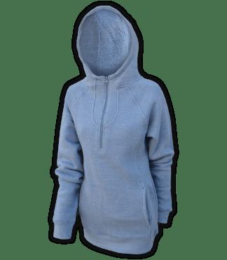renegade club fleece womens pullover, nantucket soft fleece, half zip, indigo, blue