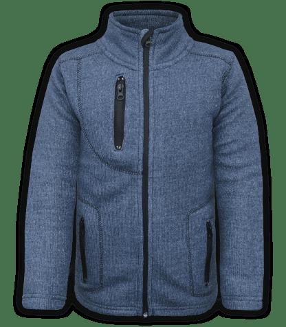 renegade club youth jacket, nantucket fleece, denim, blue, pockets, zipper, full zip, kids fleece jacket, outerwear