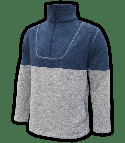 Renegade-mens-half-zip-fleece-pullover-north-shore-salt-and-pepper-gray-denim-blue-soft-two-tone