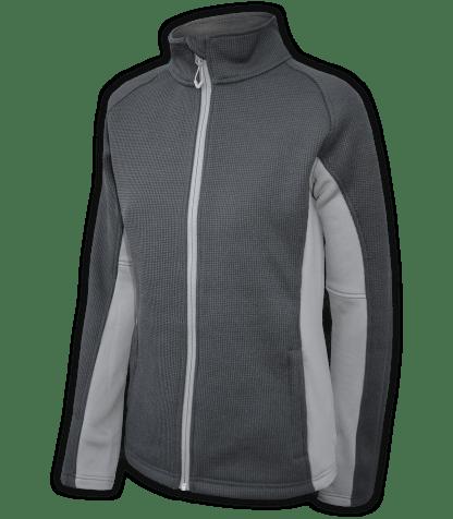 Renegade-club-womens-full-zip-fleece-jacket-coarse-weave-power stretch-black-gray-fitted-ski-jacket