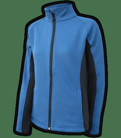 Renegade-club-womens-full-zip-fleece-jacket-coarse-weave-power stretch-black-blue-fitted-ski-jacket
