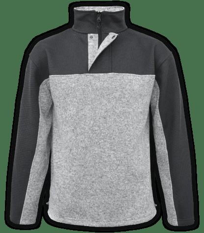 Renegade-club-mens-half-zip-placket-fleece-pullover-coarse-weave-north-shore-salt-and-pepper-gray-black-soft-mens fleece jacket-2-color