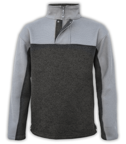 Renegade-club-mens-half-zip-placket-fleece-pullover-coarse-weave-north-shore-charcoal-dark-gray-soft-mens fleece jacket-2-color