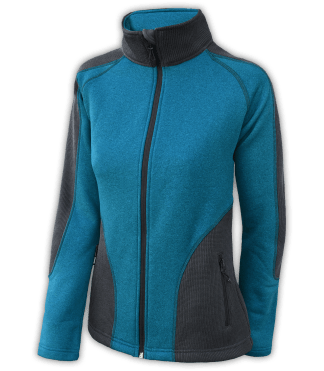 Renegade-club-womens-full-zip-fleece-jacket-coarse-weave-power stretch-black-blue-fitted-ski-jacket