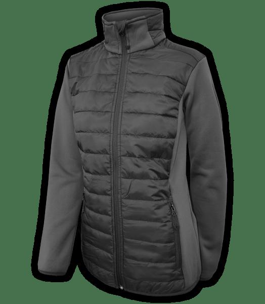 Renegade-womens-full-zip-fleece-jacket-woven-power stretch-black-fitted-ski-jacket-light-