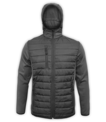 Renegade-mens-full-zip-fleece-jacket-woven-power stretch-black-ski-jacket-light-hood-pockets