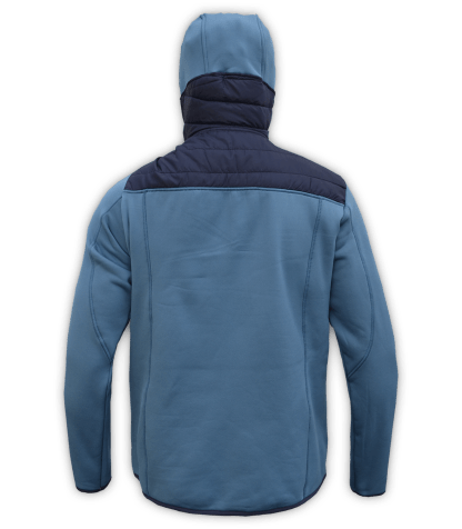 Renegade-mens-full-zip-fleece-jacket-woven-power stretch-blue-ski-jacket-light-hood-pockets-back
