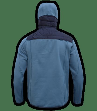 Renegade-mens-full-zip-fleece-jacket-woven-power stretch-blue-ski-jacket-light-hood-pockets-back