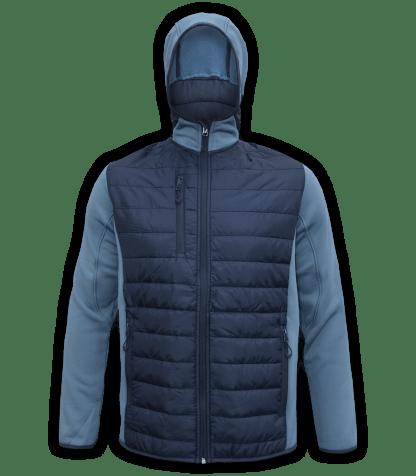 Renegade-mens-full-zip-fleece-jacket-woven-power stretch-blue-ski-jacket-light-hood-pockets